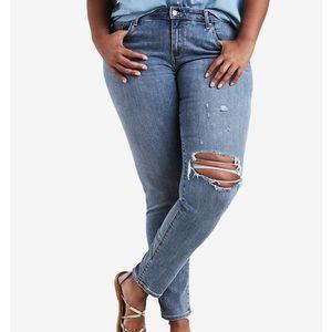 Levi's Plus Size 711 Ripped Skinny Jeans 18W